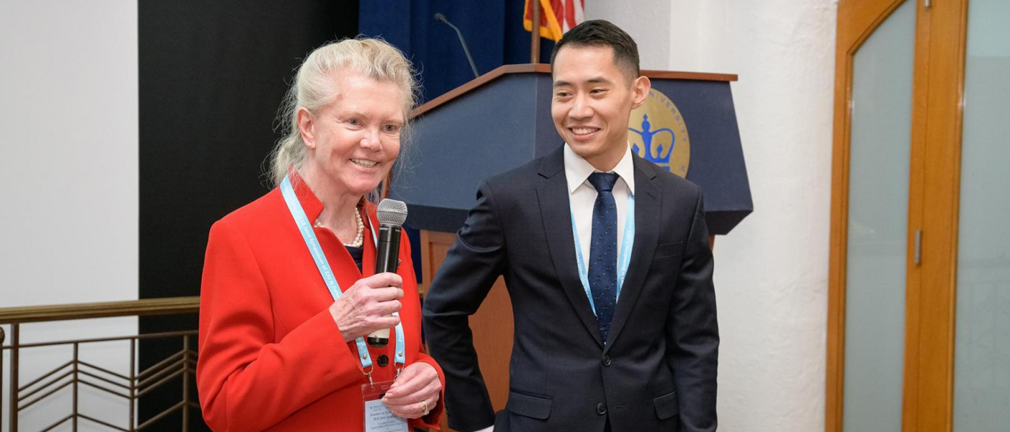 Anke Nolting, PhD, and Peter Liou, MD, spoke at the 2018 Symposium